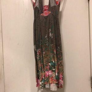 Free People tropical print halter dress